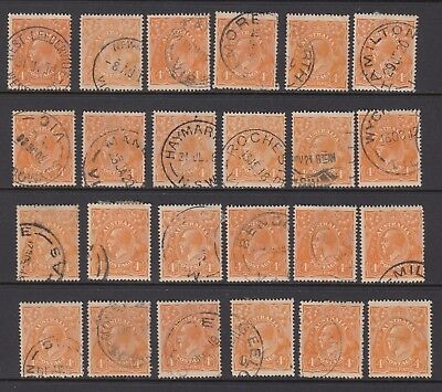 1915 4d ORANGE KGV, 24 stamps, USED