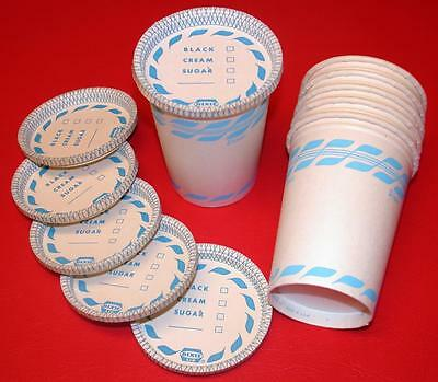 6 Vintage 1950's 8oz Hot Drink DIXIE CUPS w/ RARE LIDS Mint Old Store Stock NOS