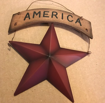 Country Primitive RED METAL STAR AMERICA Banner Patriotic Decor Sign 7x6'