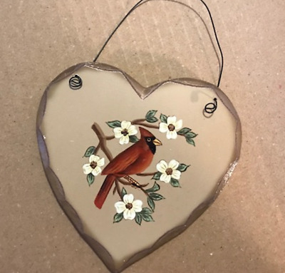 CARDINAL Wood Heart Country Lodge Cabin Primitive wooden bird Sign