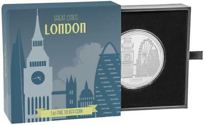 Niue Islands 2 Dollar Major cities - London, 2017, 1 Ounce Silver 1 oz
