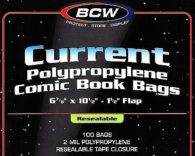 100 BCW Current Resealable Bags and Boards Industry Standard Comic Book Storage