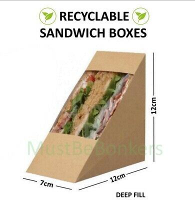200 Kraft Carton sandwich support wedges~café à emporter paquets DEEP FILL GRAND