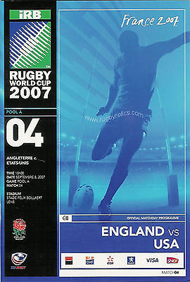 ENGLAND v USA ( UNITED STATES ) RUGBY WORLD CUP 2007 PROGRAMME