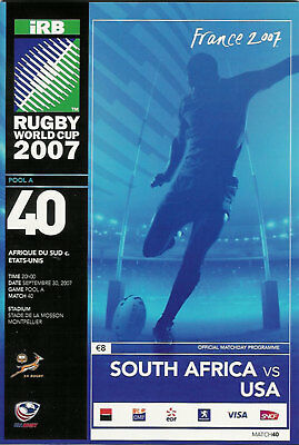 SOUTH AFRICA v USA ( UNITED STATES ) RUGBY WORLD CUP 2007 PROGRAMME