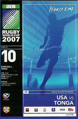 USA ( UNITED STATES ) v TONGA RUGBY WORLD CUP 2007 PROGRAMME
