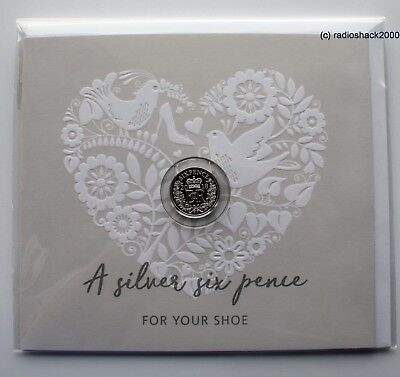 A real 2018 silver sixpence in her shoe traditional Wedding keepsake 925ag silve