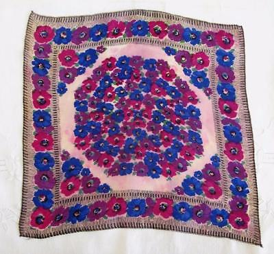 VINTAGE 1930's CREPE HANDKERCHIEF HANKY - BLUE & PURPLE FLOWERS