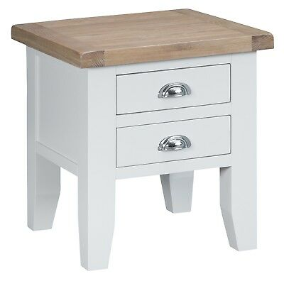 Elegance Oak Lamp Table-White Painted-Occasional Sofa Side End Unit-In Stock