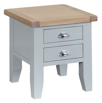 Elegance Oak Lamp Table-Grey Painted-Occasional Sofa Side End Unit-In Stock