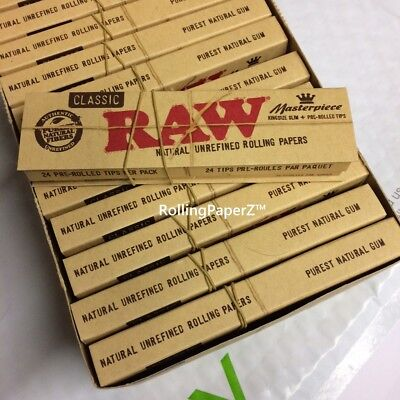 1x Pack ( RAW Classic Masterpiece ) King Size Slim Pre Rolled Tips Rolling Paper