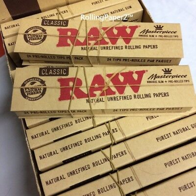 2x Packs( RAW Classic Masterpiece ) King Size Slim Pre Rolled Tips Rolling Paper