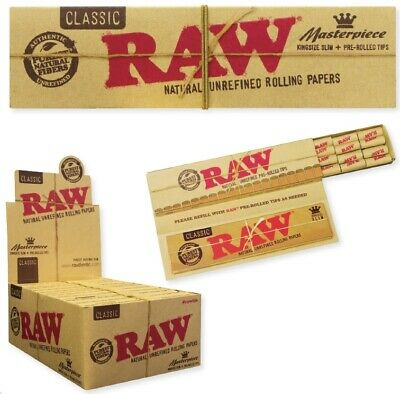 5x Packs( RAW Classic Masterpiece ) King Size Slim Pre Rolled Tips Rolling Paper