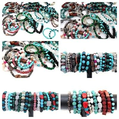 52 x modisches Stretch-Armband, Edelstein Armbänder im Mix, vers. Designs NEU