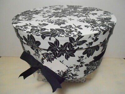 Hat Box - NEW Black and White Design  w/Ribbon Handle RED Inside Clean MINT!