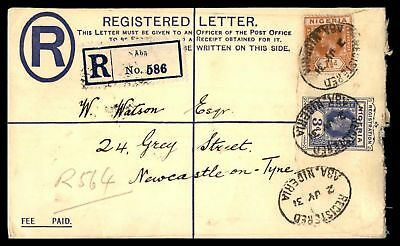 Nigeria Aba to Us Newcastle on Tyne 1931 Uprated Registered Stationery Cover