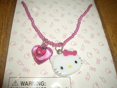 NEW Hello Kitty Pink Beaded Necklace Pink Heart
