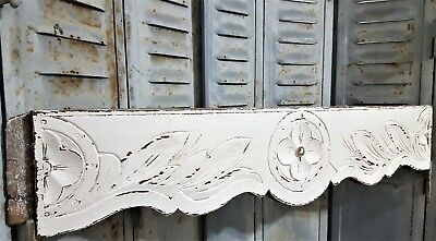 Solid Shabby Carved Wood Pediment Antique French Gothic Architectural Salvage