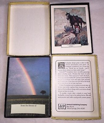 2 Antioch Bookplates B345 Cowboy Goodwin Painting + Savannah Rainbow Landscape