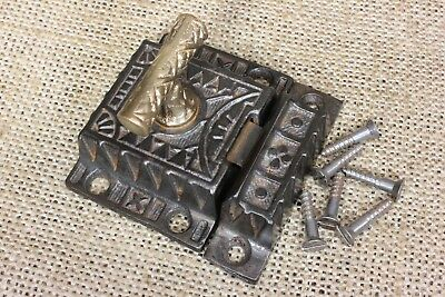 Cabinet catch cupboard latch cast iron Brass T knob old vintage 1871 patent