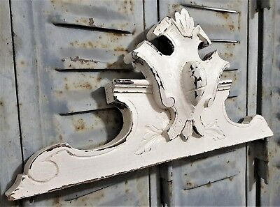 Shabby Hand Carved Wood Pediment Antique French Coast Of Arms Salvaged Ornament