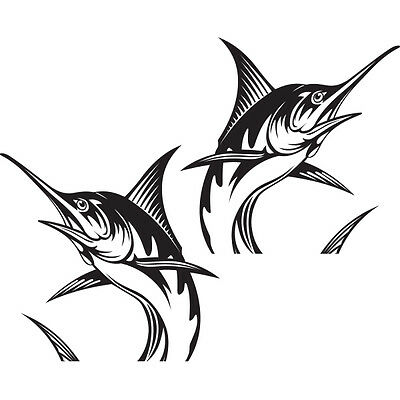 """(2x) 10"""" Blue Marlin Sportsman Saltwater Offshore Florida Fishing Boat Stickers"""
