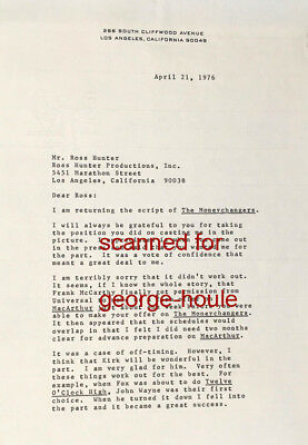 Gregory Peck - Letter - Signed - Ross Hunter - To Kill A Mocking Bird - Aa
