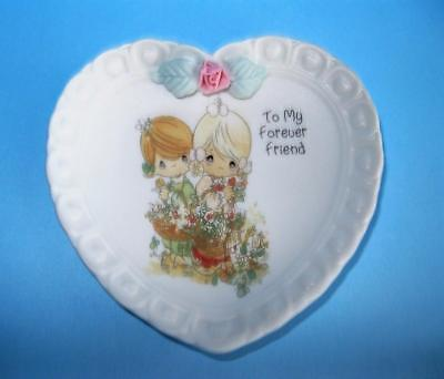 """1994 Precious Moments FOREVER FRIEND Heart Shaped Mini Plate 3-3/8"""""""