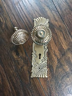 Antique Roanoke? Corbin? Brass Copper Art Nouveau Door Knob Escutcheon Plate Set