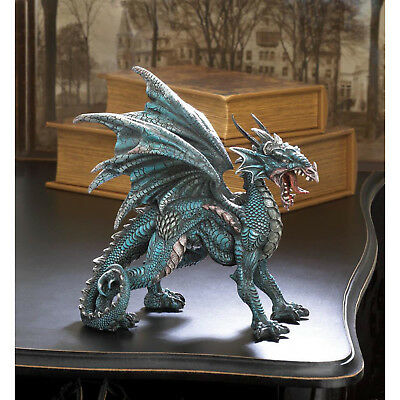 DRAGONS: Finely Detailed Medieval Fierce Dragon Statue in Mid Roar New