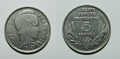 FRANCE : 5 FRANCS 1933 - SCARCER SINGLE YEAR ISSUE - NICE aEF