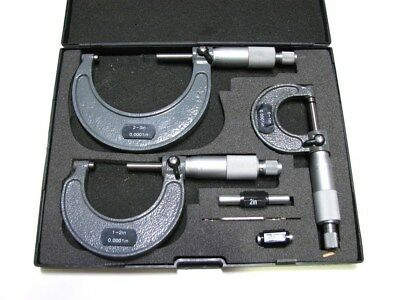 """Micrometer Outside C-Type Carbide Tip 3 Pc Set 0-3"""" New"""
