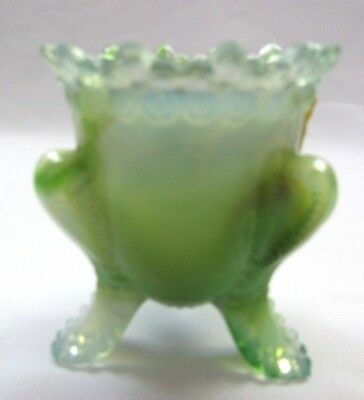 "Boyd Glass Forget Me Not Toothpick Holder ""tropical Green""  First 5 Years # 196"