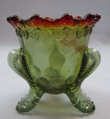"Boyd Glass Forget Me Not Toothpick Holder ""avacado ""  First 5 Years"
