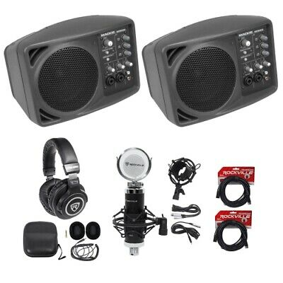 (2) Mackie SRM150 Powered PA Monitor Speakers+Headphones+Studio Mic+XLR Cables