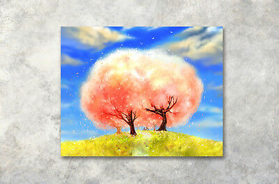 "16x20"" Romantic Tree Bicycle Modern Art Poster Prints Wall Decor Canvas Painting"