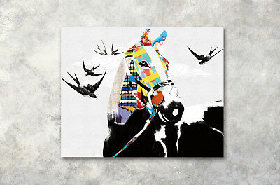 "16x20"" Colored horse Swallow Modern Art Poster Prints Wall Decor Canvas Painting"