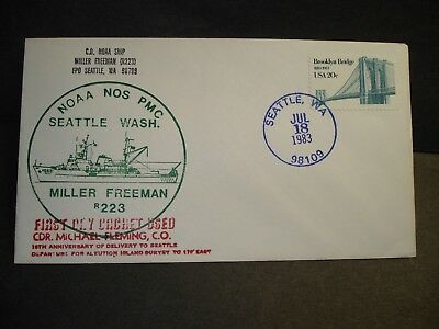 NOAA Ship MILLER FREEMAN R223 Naval Cover 1983 FIRST DAY Cachet