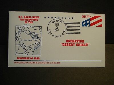 USS MIDWAY CV-41 Naval Cover 1991 OPERATION DESERT SHIELD Cachet