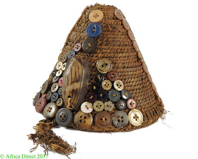 Lega Hat Basket with Buttons Bwami Society Congo African Art
