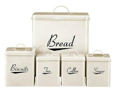 5Pc Tea Coffee Sugar Biscuit Bread Cream Metal Black Text Canister Storage Set