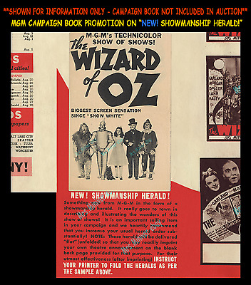 The Wizard Of Oz ☆1939 Mgm Invented Just For Oz ☆ Pre-Release Showmanship Herald