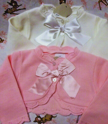 Dream Baby Girls Spanish Romany Bolero Bow Cardigan White Pink 0-3 3-6 6-9 Month