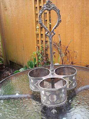 19thC Silver Plated 3 Bottle Wine Holder & Stand with Vine & Grape design c1850+