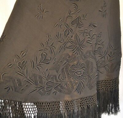 shawl wrap french embroidered black Victorian Civil War Era original 1860