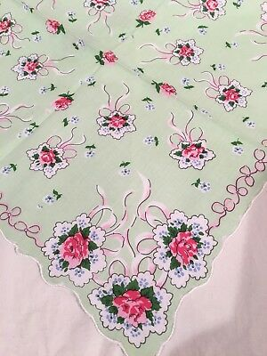 Beautiful Green Rose Bouquet Handkerchief Hankie! LuRay Collection