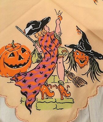 New LuRay Happy Halloween Handkerchief Hankie!  Witches Pumpkins & Bats