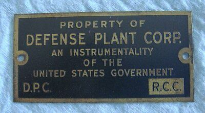 Vintage WWII Brass Property Tag: DEFENSE PLANT CORP; US Military Support