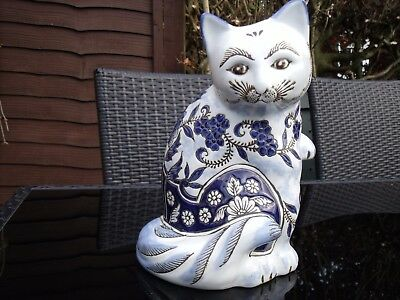 Chinese/Asian Blue and White Porcelain Cat ~ Enamelled Porcelain Cat.