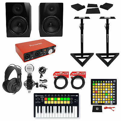 "Focusrite Recording Interface+Controller+Pad+Mic+Headphones+6.5"" Monitors+Stands"